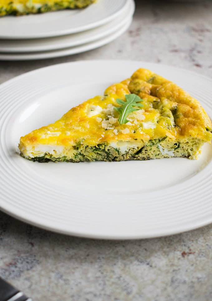 Baked Arugula Frittata (GF) - A delicious Italian omelette with Parmesan, Romano, feta & garlic! Perfect for breakfast, brunch or a meatless meal.