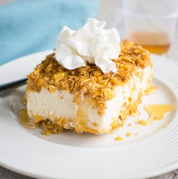 Fried Ice Cream in a Pan - Use a 9x13 pan to make your favorite Mexican dessert! With a toasted corn flake crust and drizzled with honey!