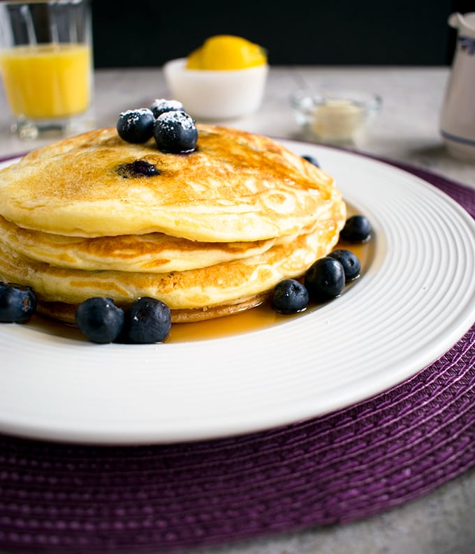 Easy Lemon-Blueberry Pancakes - If you love lemon and blueberries, this is the best breakfast!