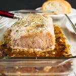 Roasted Pork Loin with Rosemary and Garlic in a pan