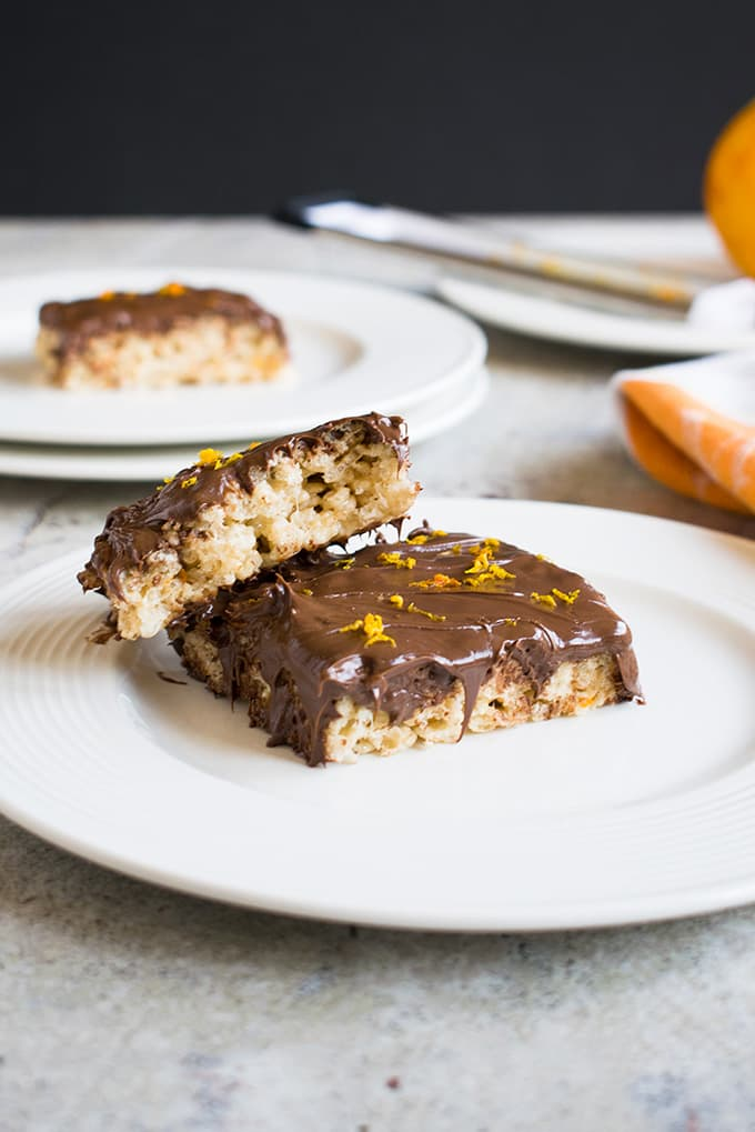 Nutella Rice Krispie Treats with Orange! They have the best chocolate-orange flavor. A quick and easy dessert or snack!