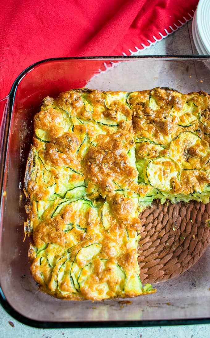 overhead view of baked zucchini casserole in pan