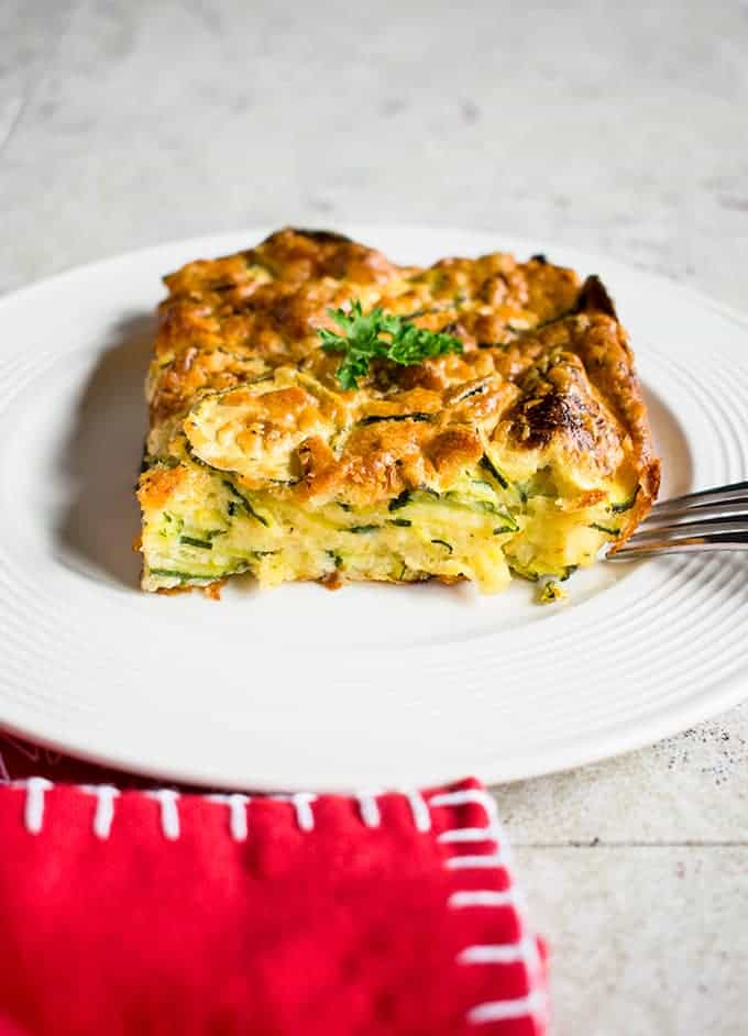 Cheesy Zucchini Bake - The best zucchini casserole you'll make again & again! With Romano & Parmesan and all from scratch. #zucchini #side #brunch