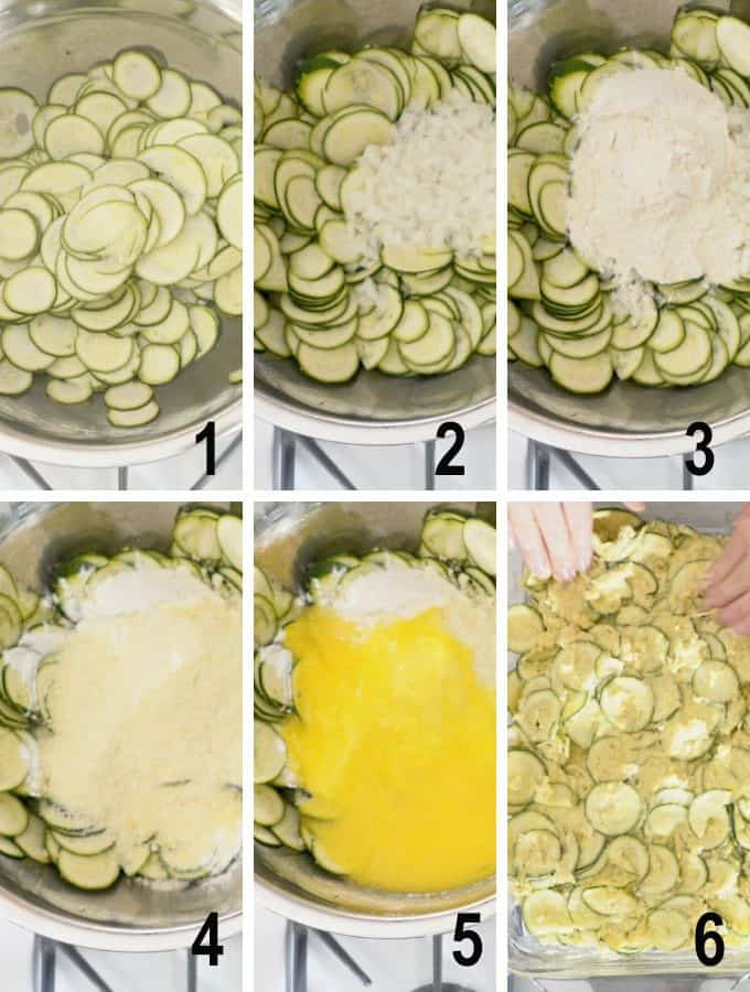 round zucchini slices with ingredients added
