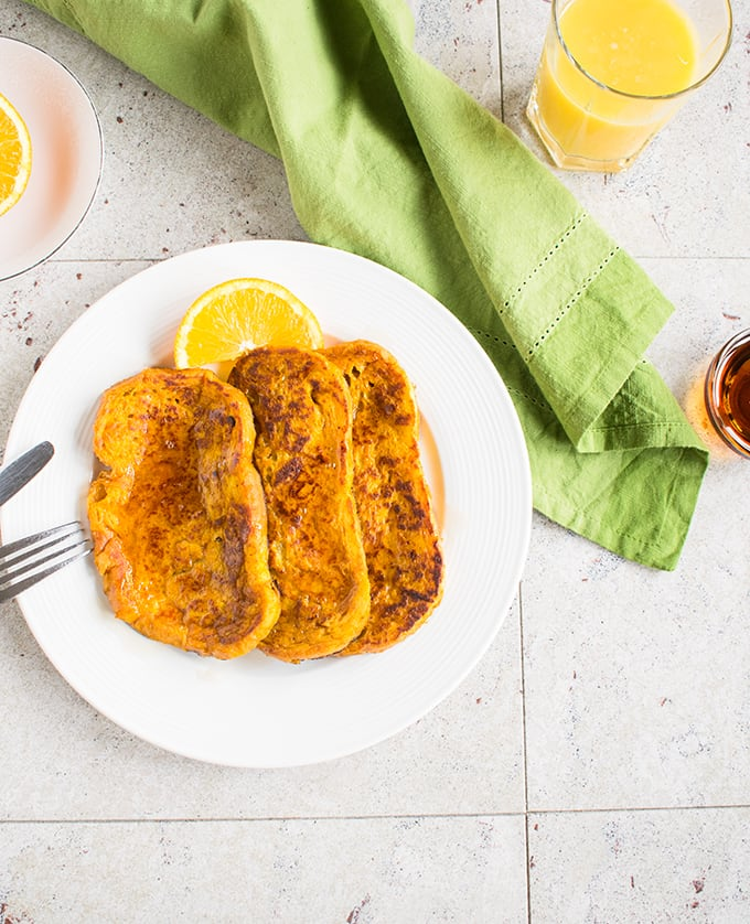 Pumpkin-Orange French Toast - A fantastic recipe you'll make again and again! #breakfast #pumpkin