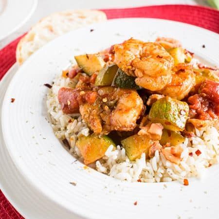 Shrimp Stew with Bacon - A fabulous, gluten-free dinner! With zucchini, tomatoes and rice. #glutenfree #dinner #seafood