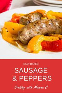 Pinterest image for Easy Sausage and Peppers