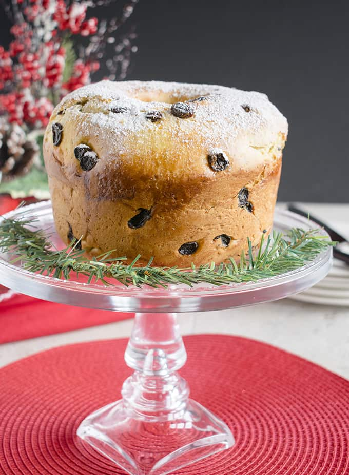 Panettone Recipe - You'll love this Italian Christmas Bread made with rum raisins, vanilla sugar and citrus! #panettone #christmas #sweetbread