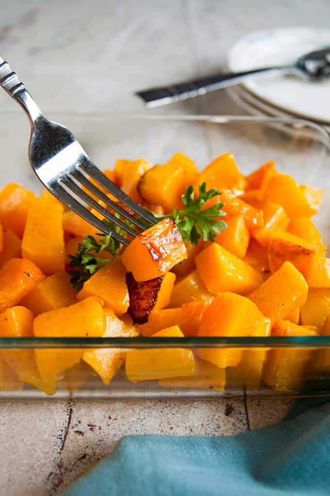 Roasted Butternut Squash Cubes - Top Ten Recipes and Highlights of 2017 from Cooking with Mamma C #butternutsquash #howtocutbutternutsquash