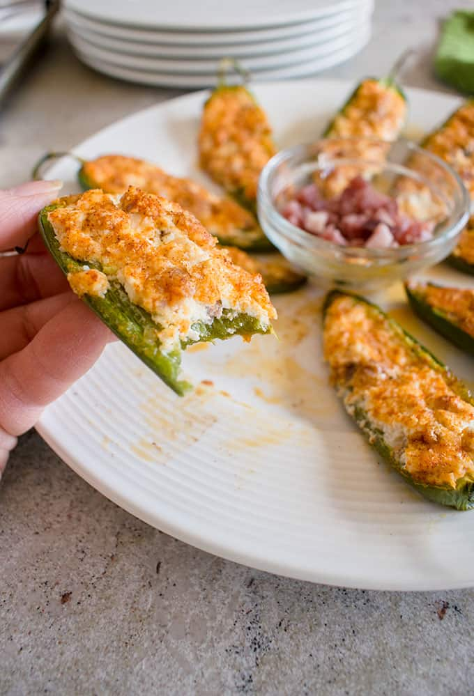 Baked Parmesan Jalapeno Poppers with Prosciutto (Gluten Free) - These are fabulous! #keto #jalapenopoppers #appetizers