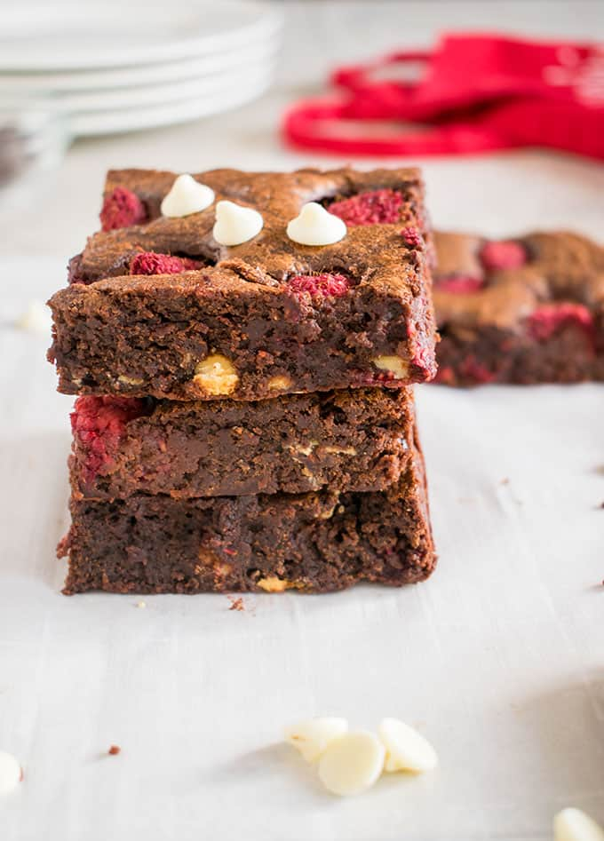 Triple Chocolate Raspberry Brownies - So fudgy, rich & satisfying! A chocolate lover's dream. #raspberrybrownies #raspberryfudgebrownies