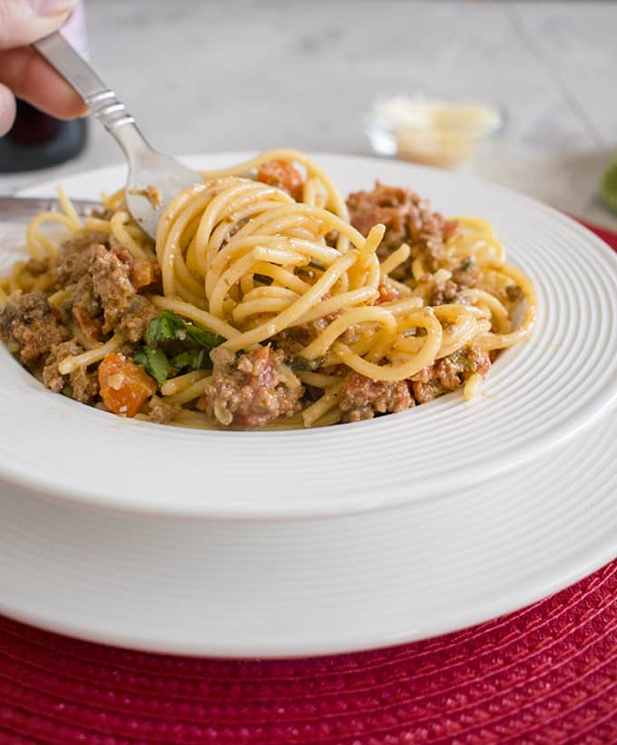 Spaghetti Bolognese - You have to try this Bolognese sauce made with half beef and half sausage. It's fabulous! #bolognese #spaghettibolognese