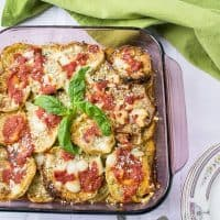 Eggplant Parmigiana Recipe - A family favorite, made with three kinds of cheese and no bread crumbs, like in Naples! #eggplants #eggplantparmesan #eggplantparmigiana