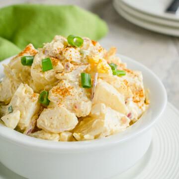 deviled egg potato salad in a bowl
