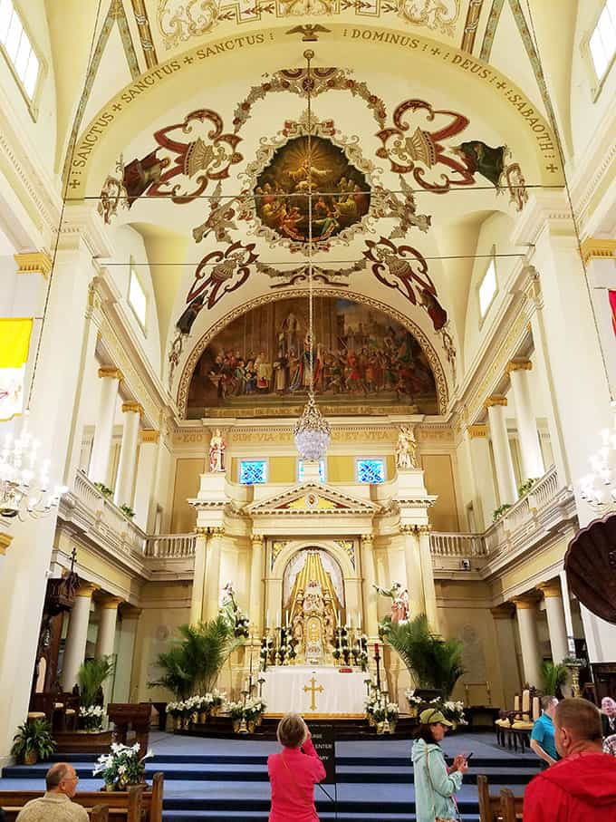 Inside of the St. Louis Cathedral in New Orleans that shows the ceiling to the floor