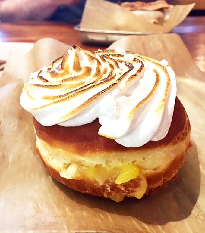 Lemon Meringue Pie Donut from District Donuts Image - New Orleans Restaurants and Highlights from Our Trip #neworleans #neworleanstravel #nola