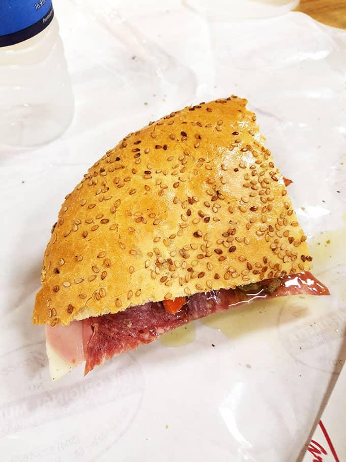 slice of muffuletta sandwich