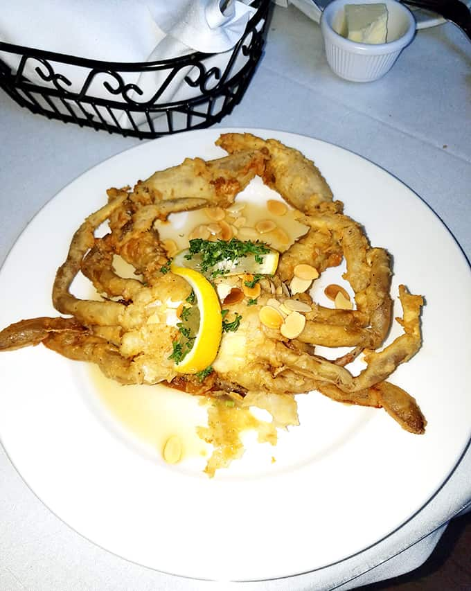 soft-shell crab on a plate from Irene\'s Cuisine in New Orleans