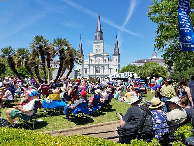 St. Louis Cathedral During French Quarter Festival in New Orleans Image - New Orleans Restaurants and Highlights from Our Trip #neworleans #neworleanstravel #nola