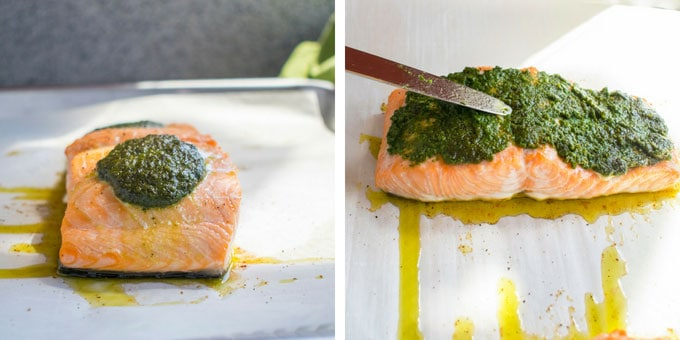 Photo collage of baked pesto salmon. On the left is a mound of pesto on the salmon. On the right is a knife being used to spread the pesto on the salmon.