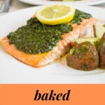 pinnable image for baked pesto salmon recipe