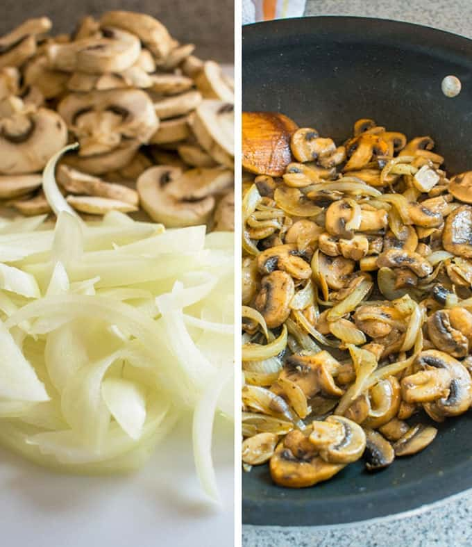 Collage photo of raw mushrooms and onions and sauteed mushrooms and onions in pan for Tender Beef Stroganoff
