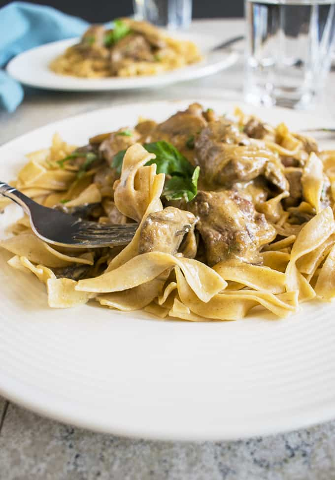 Photo of forkful of Tender Beef Stroganoff with whole wheat egg noodles