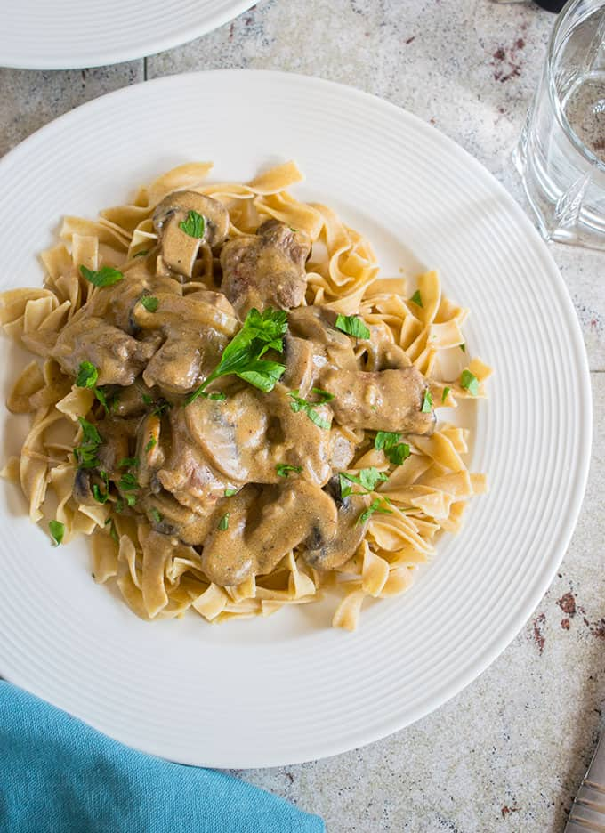 overhead photo of tender beef stroganoff on a plate