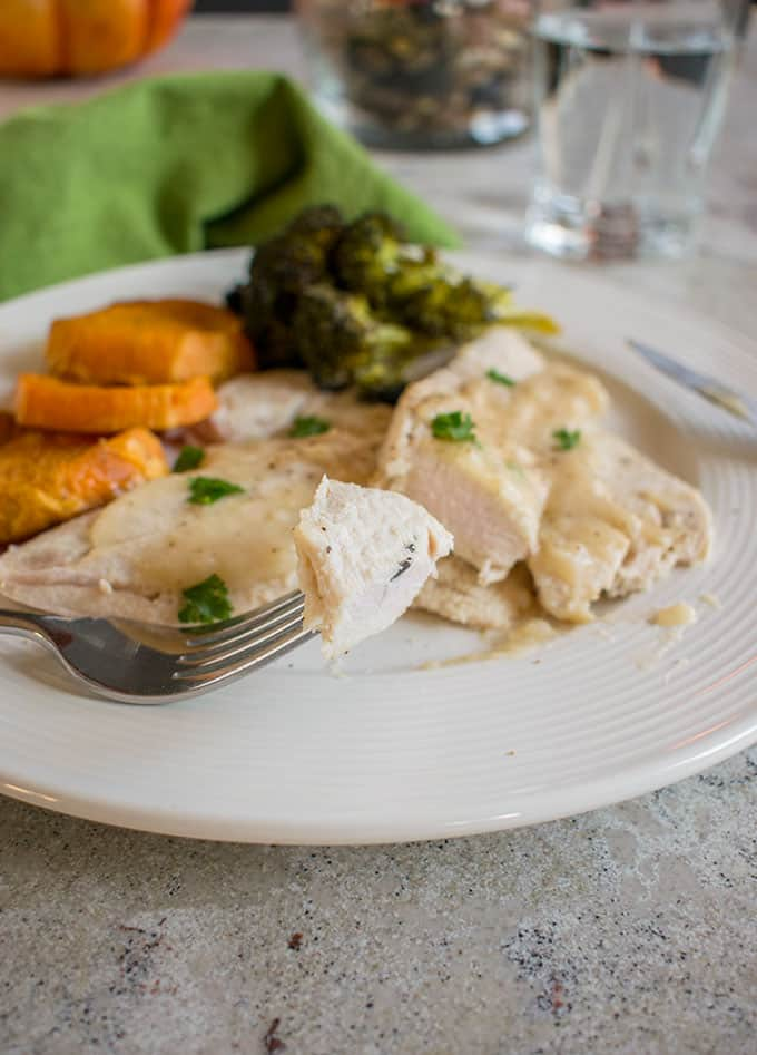 Photo of plate with Thanksgiving turkey with gravy, sweet potatoes and broccoli with forkful of turkey breast