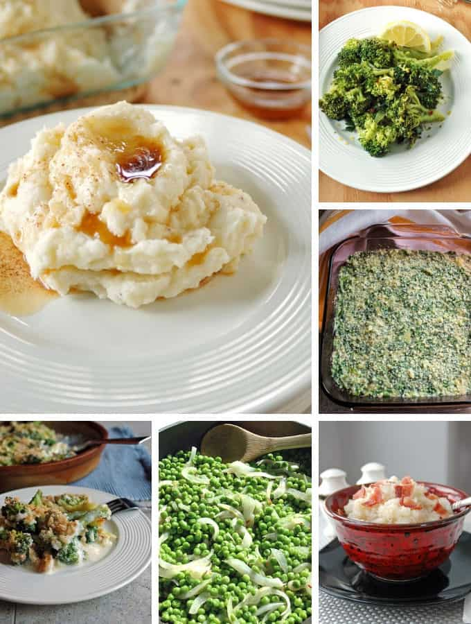 Photo collage of side dishes for Thanksgiving Recipe Ideas