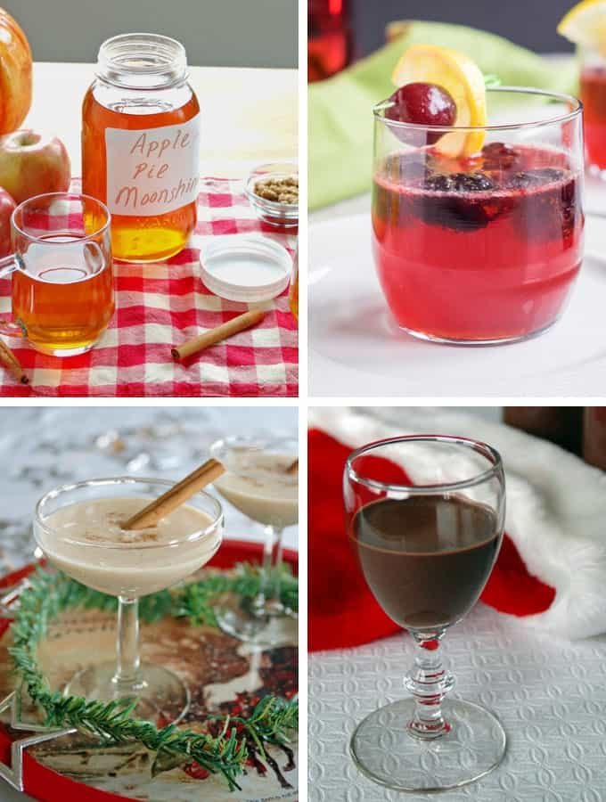 Photo collage of drinks for Thanksgiving Recipe Ideas