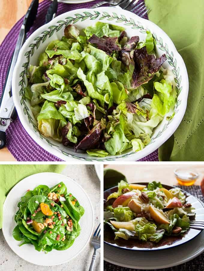 Photo collage of salads for Thanksgiving Recipe Ideas