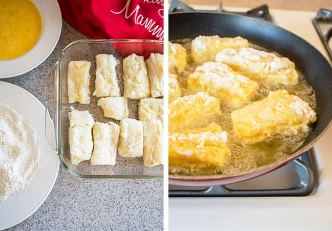 Photo collage of ingredients and cooking Fried Baccala in a pan
