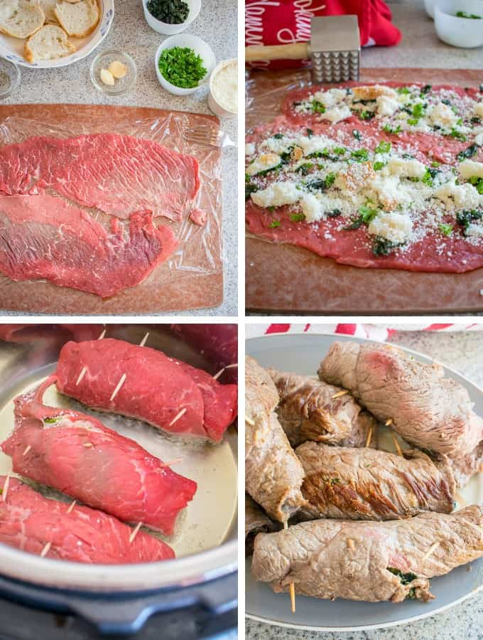 Photo collage of how to make braciole in the Instant Pot