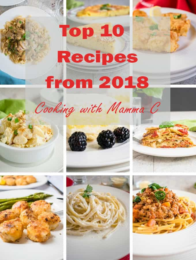 Photo collage of Cooking with Mamma C's Top 10 Recipes from 2018