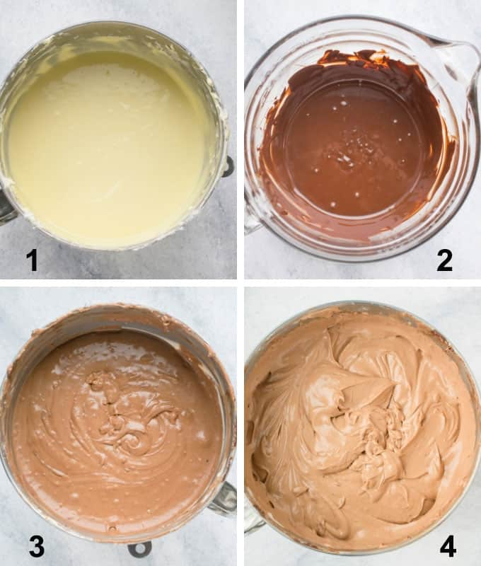 Photo collage of batter stages for Chocolate Cheesecake (Gluten Free)