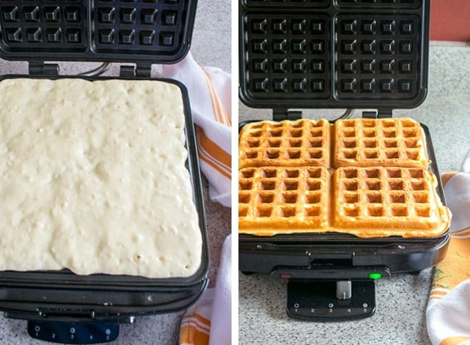 Photo collage of making Homemade Waffles on waffle iron