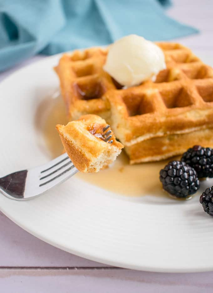 Photo of forkful of Homemade Waffles