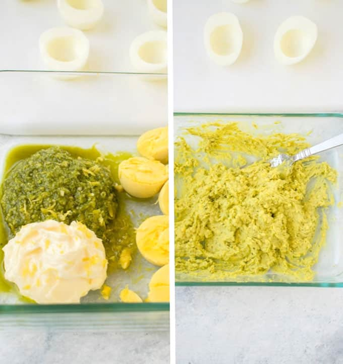 Photo collage of ingredients and mixed filling for pesto deviled eggs