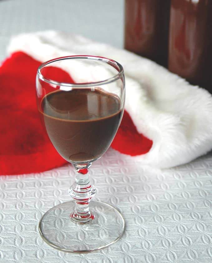 stemmed glass of chocolate liqueur