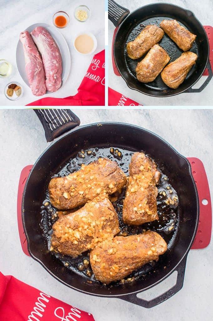 collage of ingredients, browned pork and browned pork tenderloin with glaze