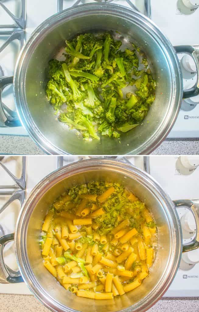 cooked broccoli in pot and pasta and broccoli cooking in a pot with water