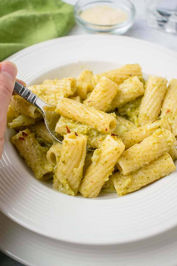 spoonful of pasta with broccoli