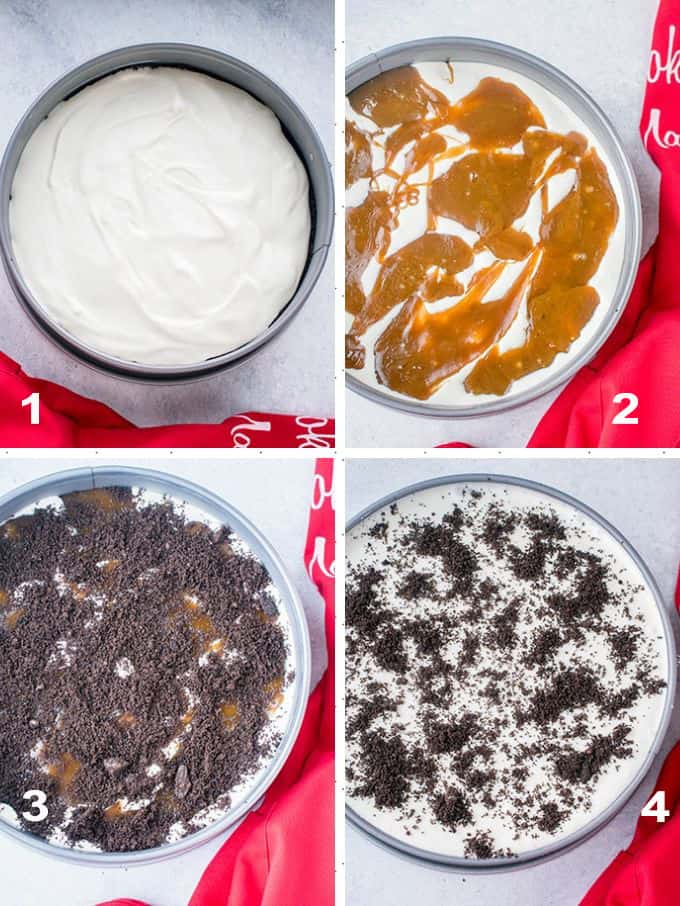 four-photo assembly collage showing ice cream layer, caramel layer, Oreo layer and the finished Oreo ice cream cake