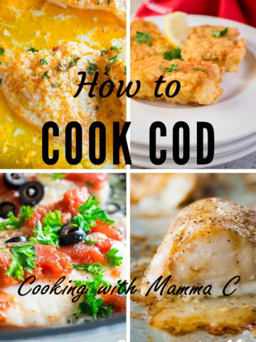 """Four different cooked cod photos and the words """"How to Cook Cod"""""""