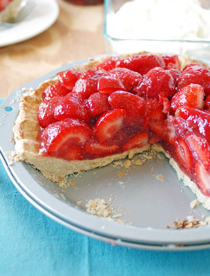 photo of two-thirds of a strawberry pie in a pie plate