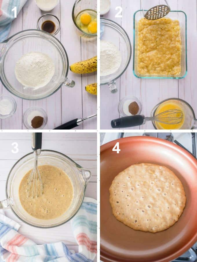 banana pancake ingredients, batter, cooking pancake in pan