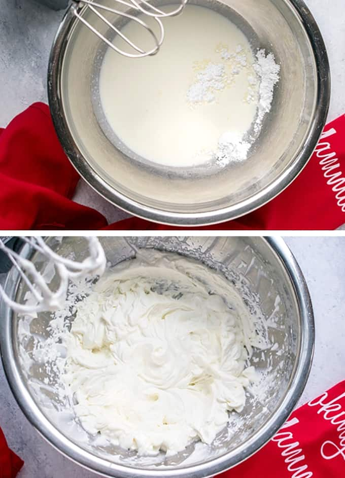 photo of whipping cream and sugar in bowl and bowl of whipped cream with beaters