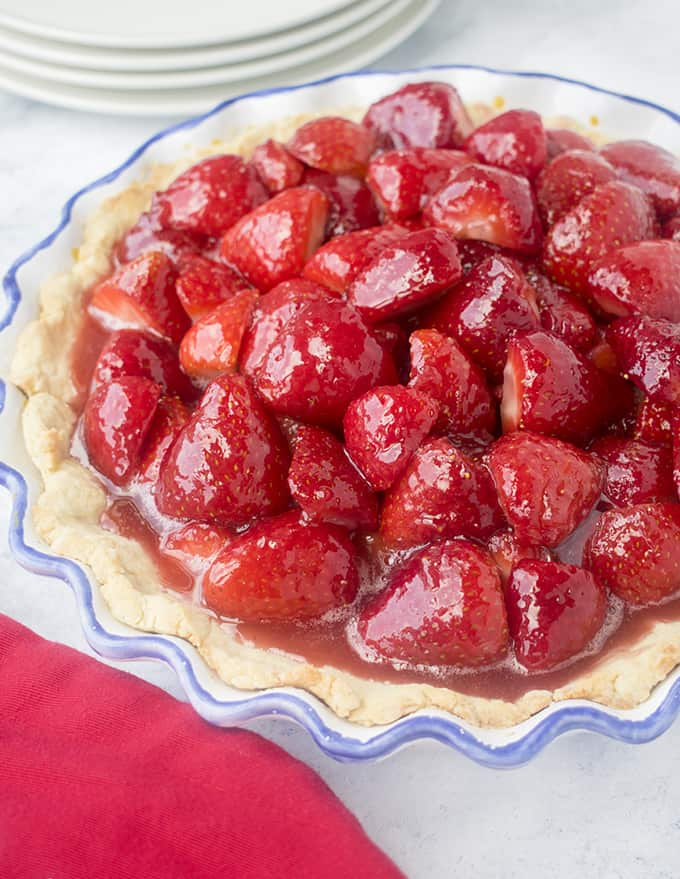 photo of fresh strawberry pie in pie dish