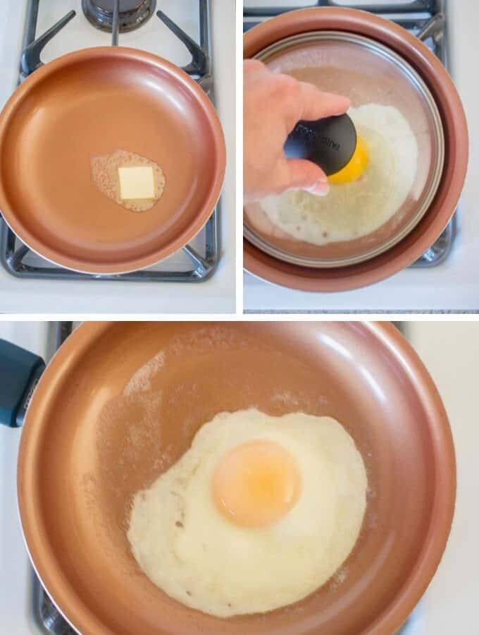 butter pan, egg in pan with glass lid, basted egg in pan